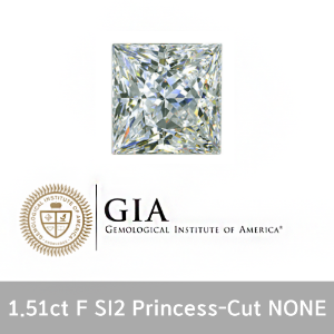 GIA 1.51ct F SI2 Princess-Cut None