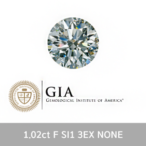GIA 1.02ct F SI1 3EX NONE